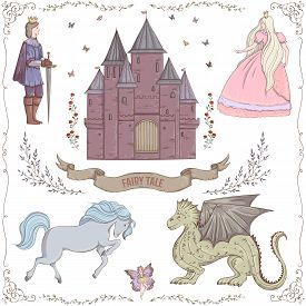 Fairy tale theme. Prince, princess, castle, dragon, fairy, horse. Collection of decorative design elements. Isolated objects. Vintage vector illustration