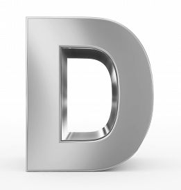 letter D 3d silver isolated on white - 3d rendering