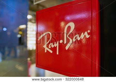 VERONA, ITALY - CIRCA MAY, 2019: close up shot of Ray-Ban sign at a store in Verona.