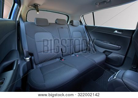 Rear Seats Covered With Fabric In A Luxury Car