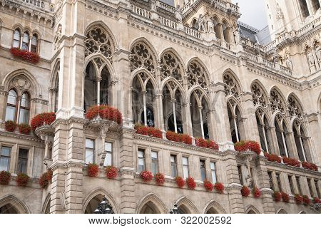 Neo-gothic Facade And Balcony Of Cityhall Historicism Building In Vienna, Austria.