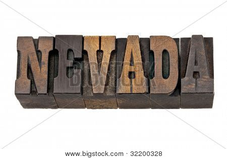 Nevada - isolated word in vintage letterpress wood type - French Clarendon font popular in western movies and memorabilia