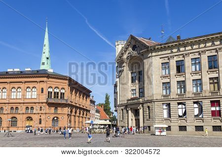 Riga, Latvia - September 1, 2019: Dome Square In The Heart Of Riga Old Town