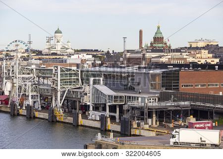 Helsinki, Finland - September 3, 2019: Port Of Helsinki With The City Center And Cathedrals On The B