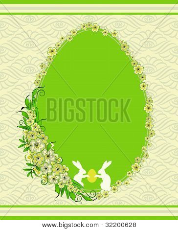 Beautiful easter card with bunny and flowers on lace background vector