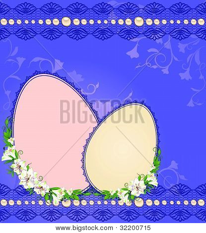 Decorative eggs on the background of lace and flowers vector