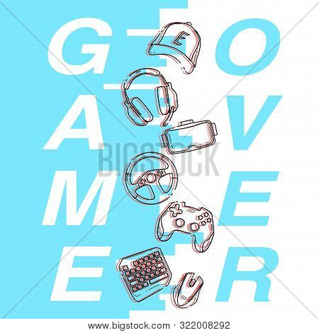 Concept Game Over, blue color and Glitch linear Game Gadgets icons, esports elements in a vertical, for print poster