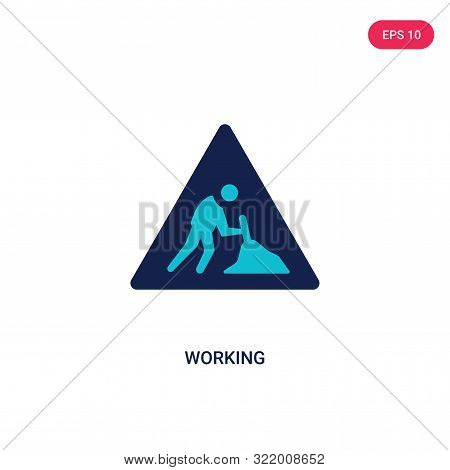 Working Icon In Two Color Design Style. Working Vector Icon Modern And Trendy Flat Symbol For Web Si