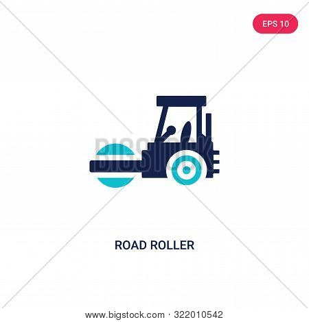 road roller icon in two color design style.