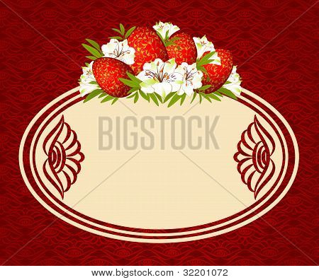 Eggs with lace decorations and flowers on the background of