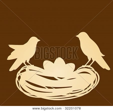Birds in nest with eggs. Easter card