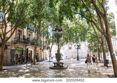 Image Of The Tree-lined Sant Agusti Vell Square, In The Center Of Barcelona, In The Gothic And Borne