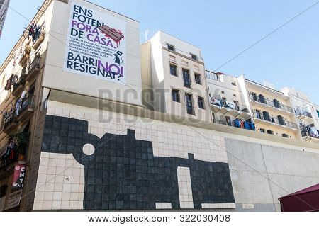 Barcelona, Spain - March 21, 2019: Los Angeles Square, In Raval Distric Of Barcelona, Very Close To