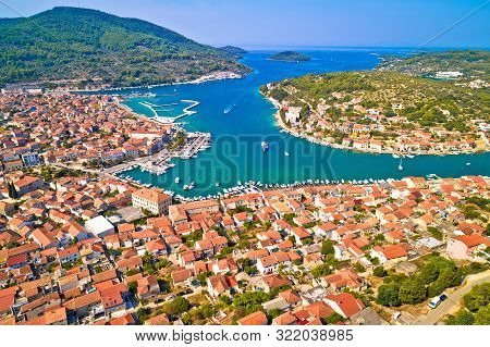 Bay Of Vela Luka On Korcula Island Aerial View, Archipelago Of Southern Dalmatia, Croatia