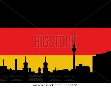 Berlin skyline with tv tower and Oberbaum Bridge againgst German flag poster