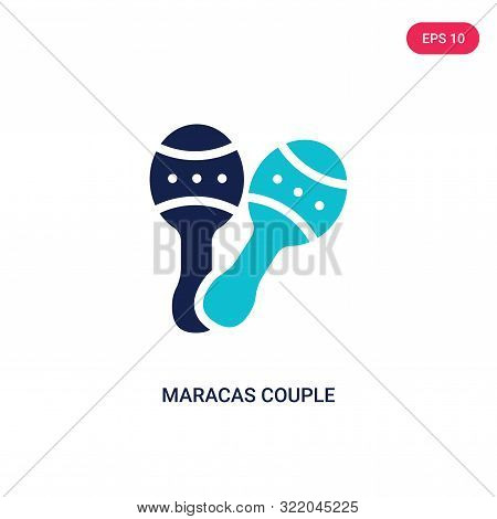 Maracas Couple Icon In Two Color Design Style. Maracas Couple Vector Icon Modern And Trendy Flat Sym