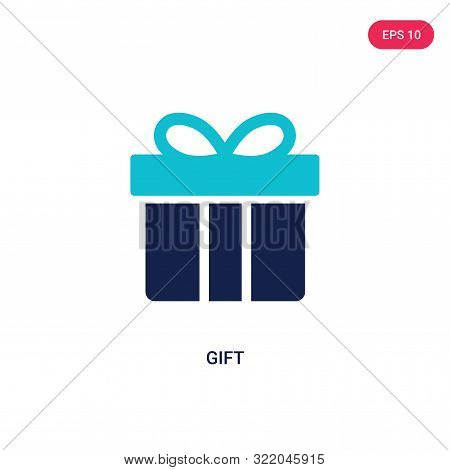 gift icon in two color design style.