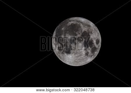 Full Moon. Night Closeup Isolated On Dark Background. Supermoon Astronomy Telescope Scene With Space