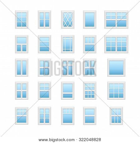 Casement & Awning Windows. Architecture Elements. Flat Icons Isolated On White Background. Tradition