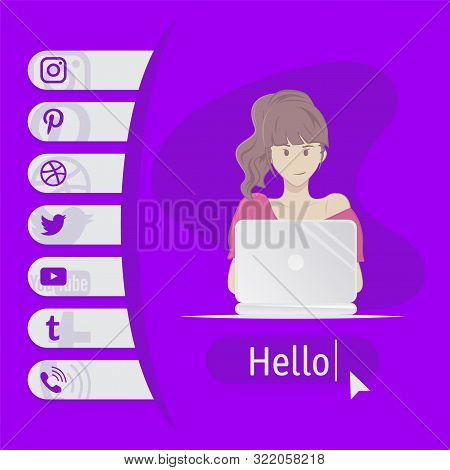 User Contacts. Social Icons. Woman Sitting At Table With Laptop