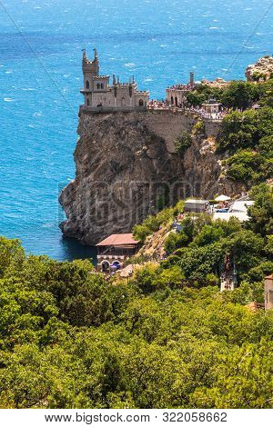 Gaspra, Crimea - July 7. 2019. Castle Of Swallows Nest On Cape Ai-todor Of Black Sea Coast