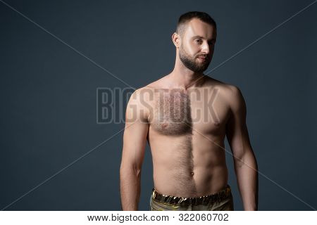 Hairy Male Chest Shaved On One Half. Unshaven Mans Body. The Man Shaves His Belly And Breasts.