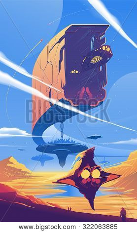 An Illustration Of A Sub-colony On A Far-away Planet In The Universe. Spaceships Are Docking Into Or