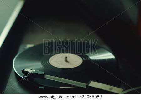 The Old Gramophone On The Table Vintage Retro Rarity Style 40s 50s 60s Closeup Vinyl Needle Song Mus