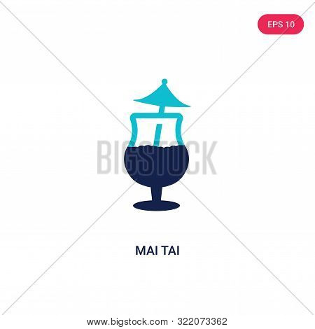 mai tai icon in two color design style.