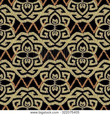 Gold Tribal Stippled Vector Seamless Pattern. Grunge Textured Greek Background. Stippling Texture. D