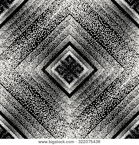 Stippled Black And White Geometric Vector Seamless Patterm. Greek Ornamental Dotted Background. Half