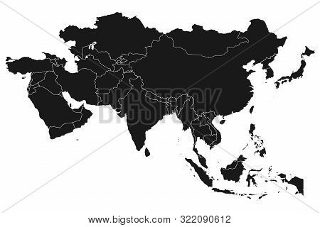Asia Map With Boundaries Vector Illustration Vector Illustration On White Background - Asian Contine