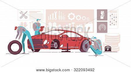 Car Mechanics Working In Auto Repair Service Flat Cartoon Vector Illustration. Car Diagnostics. Fixi