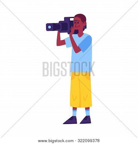 Amateur Filmmaker Holding A Camera - African Cameraman Cartoon Character