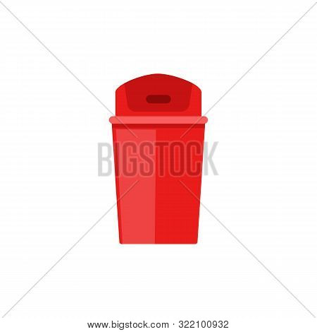 Red Plastic Trash Can With Closed Flap Lid - Flat Isolated Wastebasket Icon