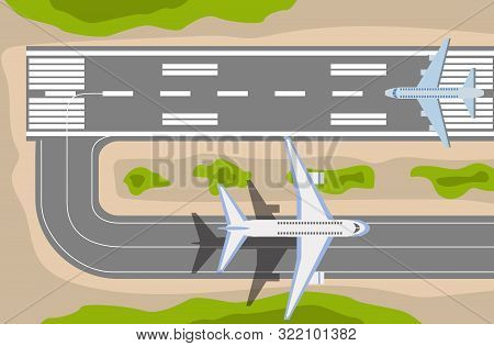 Airplane Taxiing On Runway At Airport Top View Vector Illustration In Flat Style.