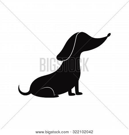 Cartoon Sausage Dog Silhouette - Pet Dachshund Sitting In Obedient Pose.