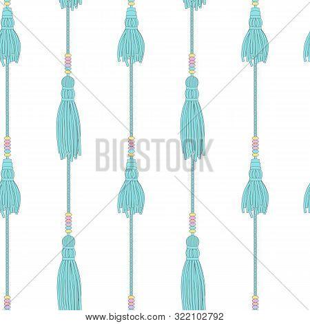 Teal Blue Tassels Seamless Pattern, Flat Cartoon Background Of Hand Drawn Tassel