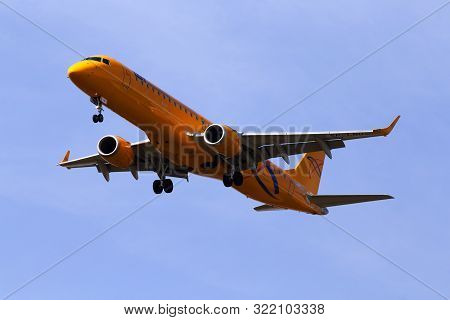 Borispol, Ukraine - September 8, 2019: Sp-lno Lot - Polish Airlines Embraer Erj-195 Aircraft On The