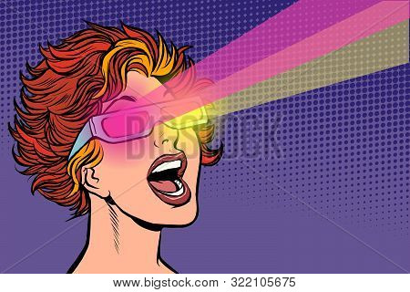 Woman In Movie Stereo Glasses. Pop Art Retro Vector Illustration Drawing