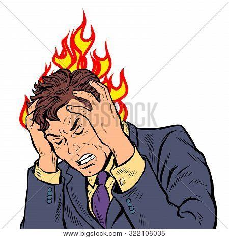 Headache Man. Heat And Temperature. Pop Art Retro Vector Illustration Drawing