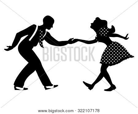 Swing dance negative couple silhouette. Black and white colors. 1940s and 1930s style. Woman in dress with dots and man with suspenders and tie. poster