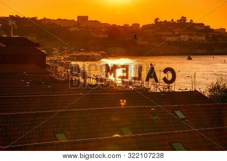 Porto, Portugal - September 7, 2019: View Of The Waterfront And The Old City Of Vila Nova De Gaia, P