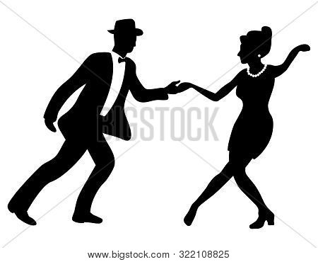 Swing dance negative couple silhouette. Black and white colors. 1940s and 1930s style. Woman with beads and man with bow tie and hat. poster