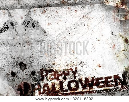 Spooky Halloween Background With Shadow Of Demon. Grungy Frame, Bloody Patchy With Remains Of Scotch