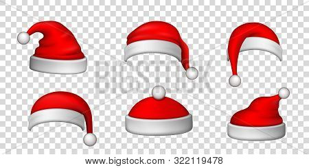 Santa Claus Hat 3d Set. Realistic Santa Claus Hat Isolated Transparent Background. Red Funny Cap Sil