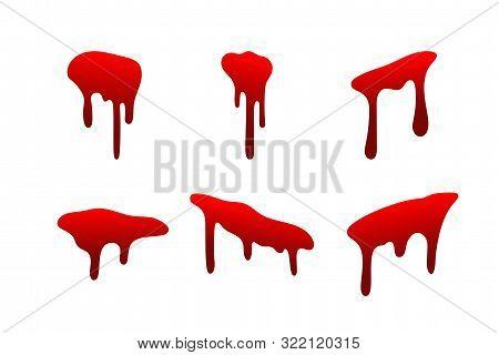 Blood Drip Set. Drop Blood Isloated White Background. Happy Halloween Decoration Design. Red Splatte
