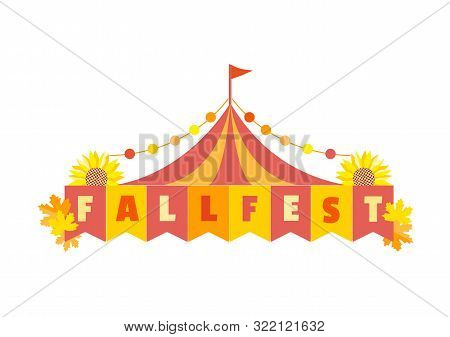 Hand Drawn Fall Fest Tent Simple Flat Color Vector Icon. Fall Fair Event Design Element. Autumn Fest