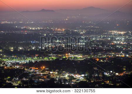 Los Angeles, California, USA - September 12, 2019:  Predawn view of the San Fernando Valley.  Shot from the Santa Susana Mountains near Chatsworth.