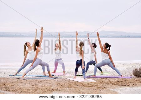 Full-length Group Of Yogi Women Wearing Activewear Practising Yoga Outdoors Standing On Mats Perform